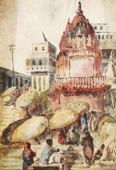 "Sunil Das, 'Benaras, Watercolor Painting, Red, Brown, Yellow, Green by Padmashree Artist ""In Stock""', 1948"
