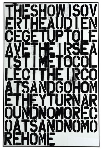 Christopher Wool, 'Untitled / The show is over', 1993