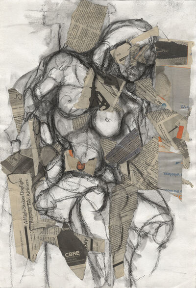 Stephanie Visser, 'Figure- Grey Nude, mixed media on canvas', 2008