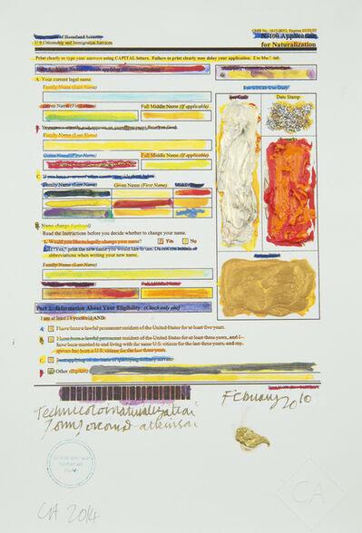 Conrad Atkinson, 'Conrad Atkinson's Naturalization Form', 2010