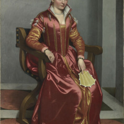 Giovanni Battista Moroni, 'Portrait of a Lady, perhaps Contessa Lucia Albani Avogadro ('La Dama in Rosso') ', about 1556-1560