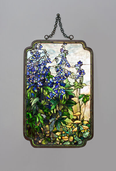 Tiffany Studios, 'Rare 'Delphinium and Poppy' Transparency Panel ', ca. 1910