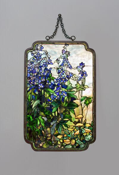 Tiffany Studios, 'Rare 'Delphinium and Poppy' Transparency Panel ', ca. 1910