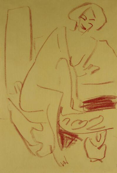 Ernst Ludwig Kirchner, 'Sitzender Akt am Tisch', ca. 1910
