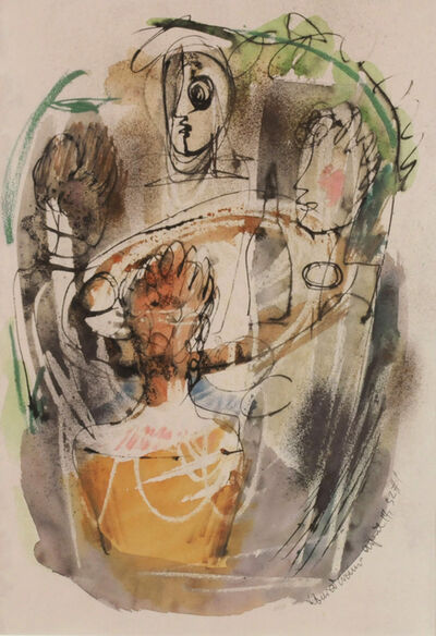 Konrad Cramer, 'April 14, 1952, #1 (Four Figues Around a Table)', 1952