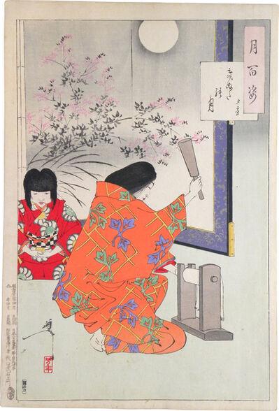 Tsukioka Yoshitoshi, 'One Hundred Aspects of the Moon: no. 84, Cloth-Beating Moon, Yugiri', ca. 1890