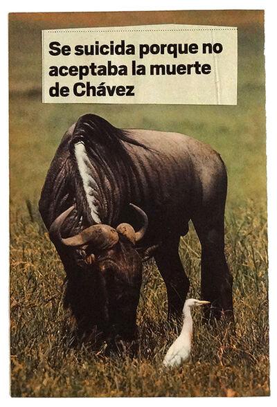 Marco Montiel-Soto, 'Sucesos del día a día. Se suicida porque mo aceptaba la muerte de Chávez', 2015