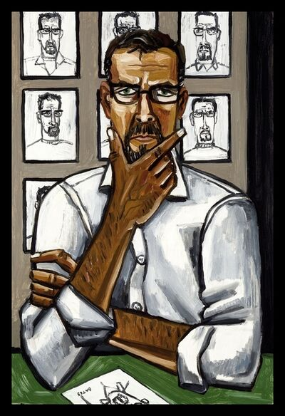 David Bates, 'Self Portrait with Drawing', 2011
