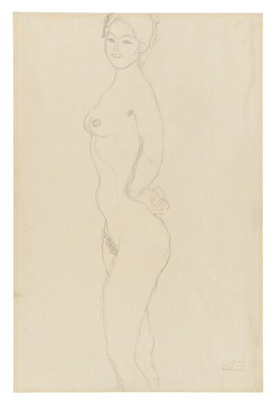 Gustav Klimt, 'Standing Female Nude, Facing Left, with Hand Resting on Hip', 1916-1917