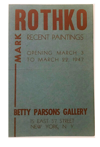 "Mark Rothko, ''ROTHKO"", Betty Parsons Gallery NYC, 1947, Exhibition Announcement', 1947"