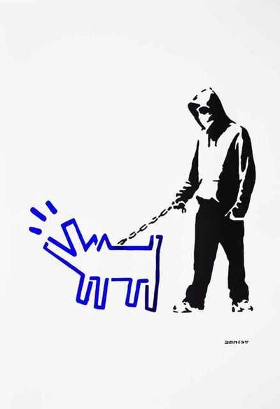 Banksy, '(After Banksy) Hoodie & Haring Dog (Blue)', 2017