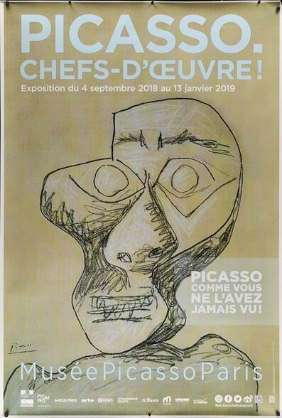 Pablo Picasso, 'PICASSO CHEFS D'OEUVRE, Musee Picasso, Paris Oversize Lithographic Musuem Exhibition Poster, The black magnets are in the photo but not on the actual poster.', 2018
