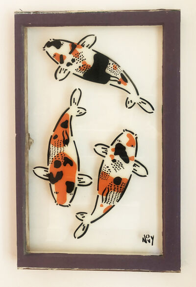 Jeremy Novy, '3 Koi on Window in Purple Frame ', 2019