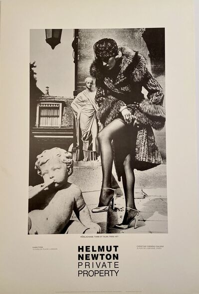 "Helmut Newton, 'Rare Limited Helmut Newton ""Private Property"" Gallery Lithographic Poster (features the photo '""PERELACHAISE TOMB OF TALMA. PARIS, 1977"")', 1985"