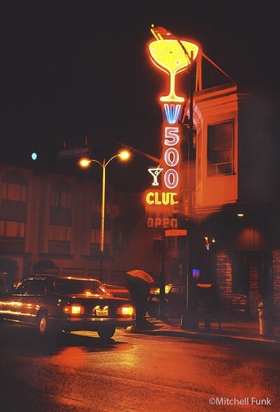 Mitchell Funk, 'Noir Street Night Time Neon Sign Martini Glass', 1982