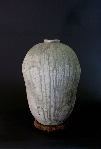 Yui Tsujimura, 'Cocoon Shaped Large Jar with Natural Ash Glaze (Resting on a pillow)'