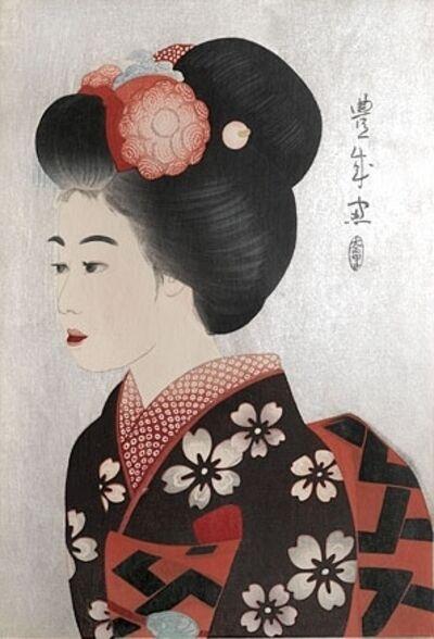 Yamamura Kōka, 'Maiko (black mica on obi)', ca. 1924