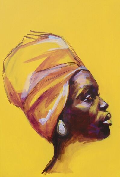 Flo Lee, 'Yellow, original signed great reviews vibrant portrait ', 2019