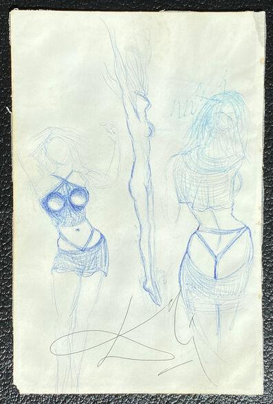 """Salvador Dalí, '""""Etude de maillot de bain féminin""""  pour la projet d'ensemble de bain, Barcelona, 1965. Au verso etude pour la tableau :""""L'apotheoise du dollar"""" ', ca. 1965"""