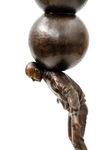 P. Roch Smith, 'Semblance of Balance - Bronze casted male figure with stacked spheres', 2020