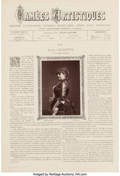 Paul Nadar, 'Jacquet, Mlle. Rosita Mauri de l'Acadèmie Nationale de Musique, and Sophie Croizette de la Comédie Française (three photographs)', circa 1880
