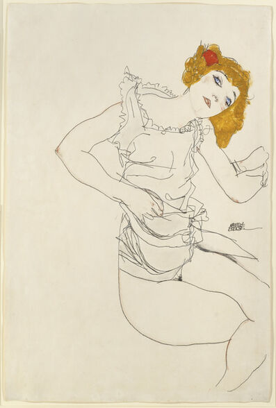 Egon Schiele, 'Blond Girl in Underwear', 1913