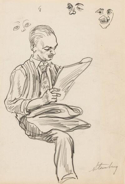harry sternberg, 'Man Reading on the Subway', circa 1945