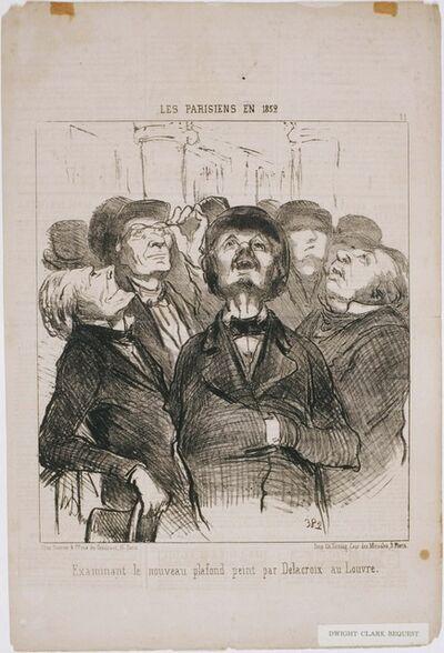 Honoré Daumier, 'Les Parisiens en 1852: Examinant le nouveau plafond...Par Delacroix', 1852