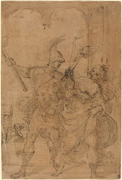 Lodovico Carracci, 'Alexander and Thaïs Setting Fire to Persepolis', probably c. 1592