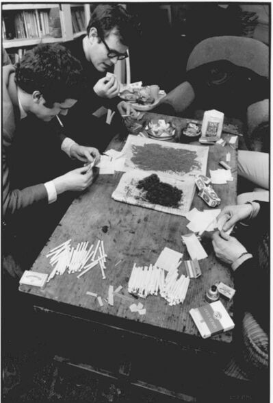 John 'Hoppy' Hopkins, ''Joint Factory', Rolling Marijuana Joints ready for a Party, London', ca. 1964