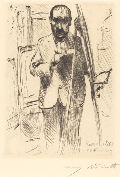 Lovis Corinth, 'Self-Portrait with Easel (Selbstbildnis an der Staffelei)', 1918