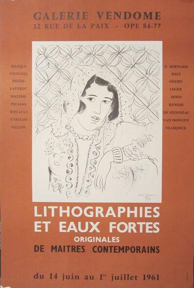 Henri Matisse, 'Galerie Vendome, Lithographies et Eaux Fortes', 1961
