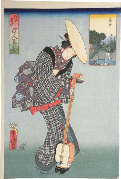 Utagawa Toyokuni III (Utagawa Kunisada), 'One Hundred Beauties from Famous Places in Edo: Aoisaka', 1857