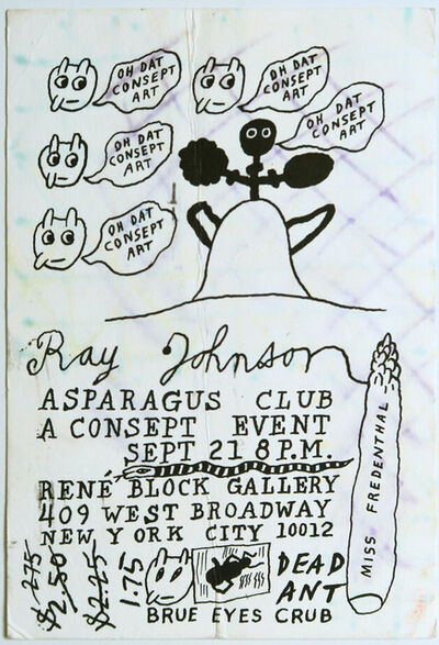 Ray Johnson, ' Ray Johnson, Asparagus Club, A Consept Event with unique drawing by  Ray Johnson and Ruth Ann Fredenthal',  1976