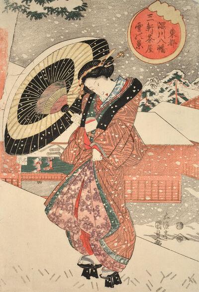 Utagawa Kunisada, 'View of the Sangen Teahouse in Snow at Fukagawa Hachiman Shrine in Toto (Edo)', ca. 1828
