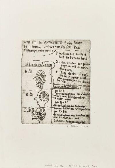 Dieter Roth, 'Why Wittgentstein has to be an Ascetic and why Rot cannot be a Philosopher (Warum der wittgenstein einasket sein muß und warum der rot kein philosoph sein kann) from Popular Music 1 (Unterhaltungsmusik 1) [Dobke 53]', 1966