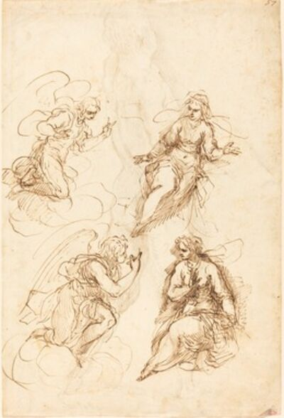 Jacopo Palma il Giovane, 'Studies for an Annunciation [recto]'