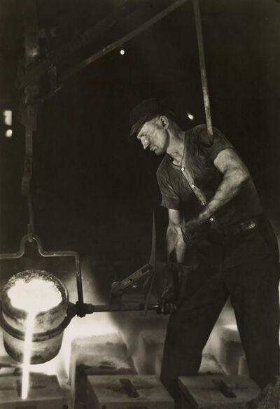 Margaret Bourke-White, 'Pouring molten metal into ingot molds, Ludlum Steel Co.', Circa 1930