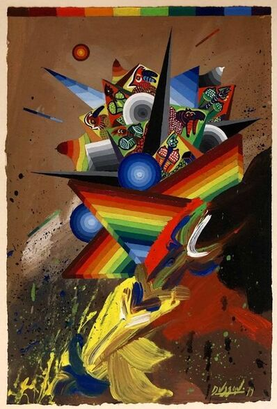 Georges Dussau, 'French Surrealist Colorful Futurist Abstract Painting Composition II', 20th Century