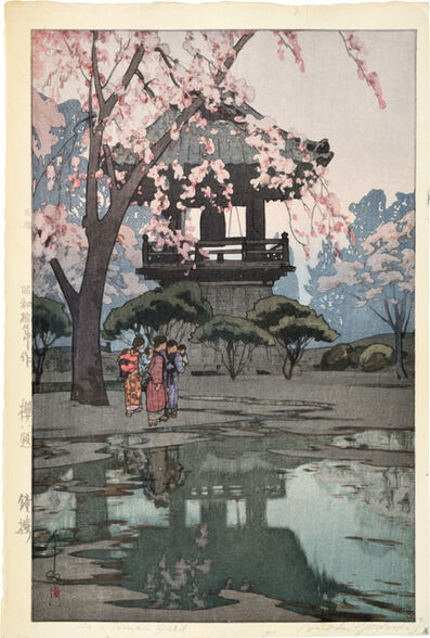 Yoshida Hiroshi, 'Eight Scenes of Cherry Blossoms: In a Temple Yard', ca. 1935