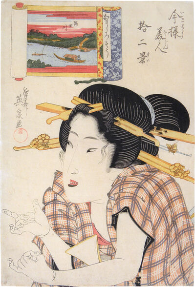 Keisai Eisen, 'Twelve Views of Modern Beauties: The Amused Type, Sumida River', ca. 1822-23