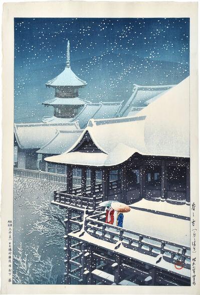 Kawase Hasui, 'Spring Snow at Kiyomizu Temple, Kyoto', 1932