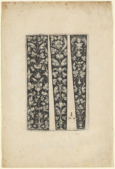 Daniel Hopfer I, 'Ornament with Vase and Two Designs for Sleeves'