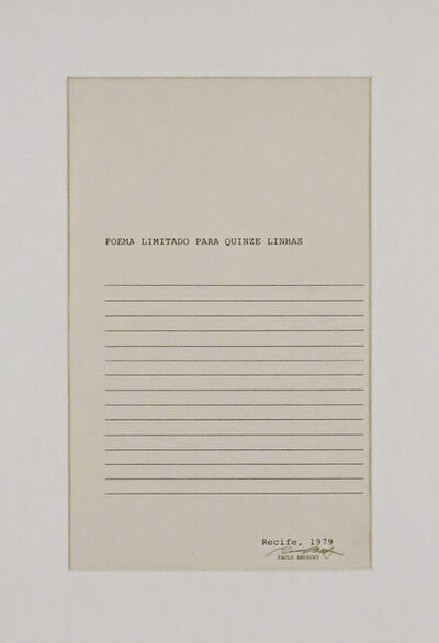 Paulo Bruscky, 'Poema Limitado para 15 Linhas', 1979