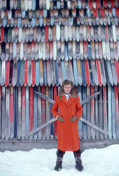 Slim Aarons, 'Princess Ruspoli, 1979: Princess Lucy Ruspoli stands in front of a colorful wall of old skis in Lech am Arlberg, Austria', 1979
