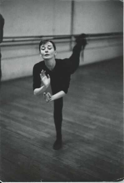 David Seymour, 'Audrey Hepburn training for funny face', 1956