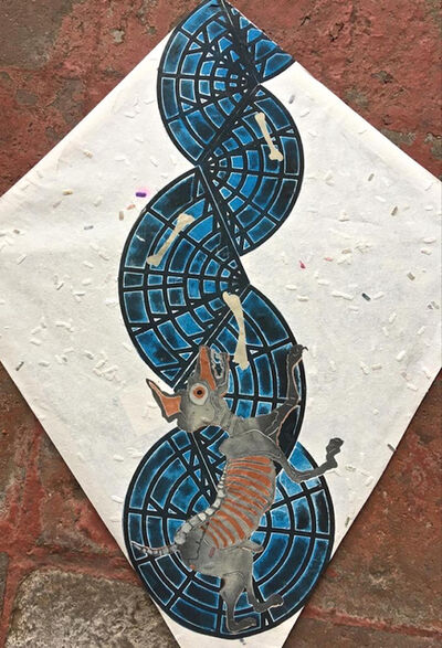 Francisco Toledo, 'Abstract blue kite with dog and bones', 2017