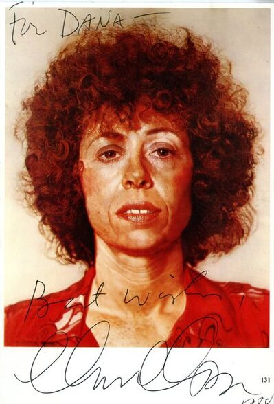 Chuck Close, 'Rare Signed, dedicated and inscribed vintage card ', 1988
