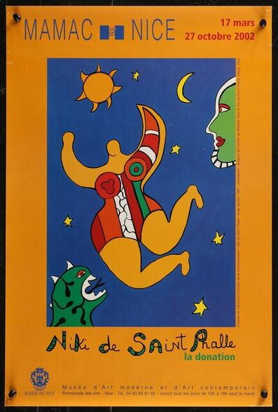 Niki de Saint Phalle, 'NIKI DE SAINT PHALLE LA DONATION French Art Musuem exhibition poster, The magnets in the corners are there for the photography and not on the actual poster.', 2002