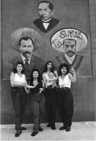 Graciela Iturbide, 'Cholas con Zapata y Villa, White Fence, LA', 1986